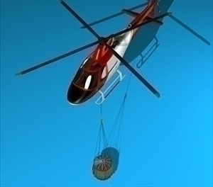 Firefighting Helicopter 3D model with Tank