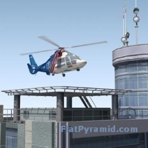 3D Model of Hospital with Air Ambulance Helicopter and Platform